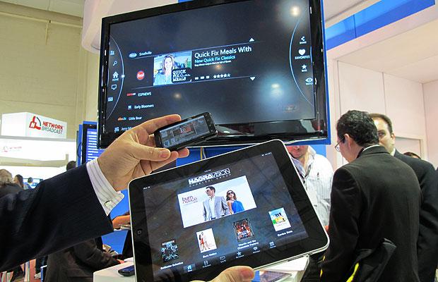 Tecnologia da Nagra permite acessar o conteúdo da TV por várias telas (Foto: Laura Brentano/G1)