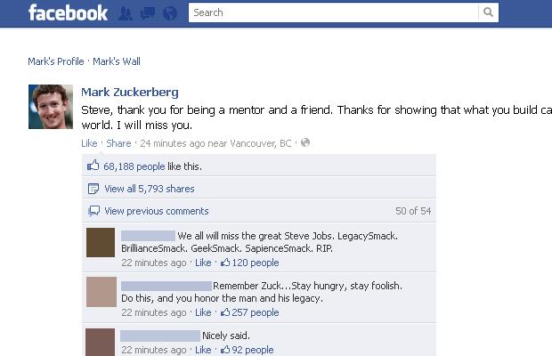 Mark Zuckerberg publicou uma mensagem sobre Steve Jobs em seu perfil no Facebook (Foto: Reprodução)