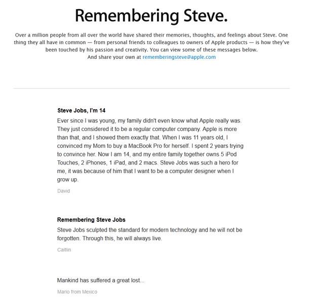 Apple diz ter recebido mais de 1 milhão de mensagens em homenagem a Steve Jobs (Foto: Reprodução)