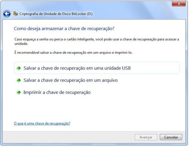O BitLocker oferece o recurso de recuperação de senha através da criação de uma chave de segurança (Foto: Reprodução)