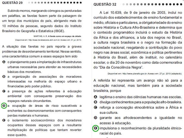 Questão 29 (à esquerda) foi anulada; questão 32 (à direita), havia sido anulada pelo TRF e foi revalidada (Foto: Reprodução)