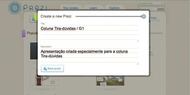 Criando uma nova apresentação usando o Prezi (Foto: Reprodução)