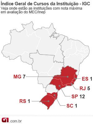 Mapa IGC  (Foto: Editoria de Arte/G1)