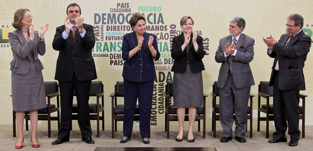 A presidente Dilma discursa em cerimônia de sanção da lei da Comissão da Verdade (Foto: Roberto Stuckert / Presidência)