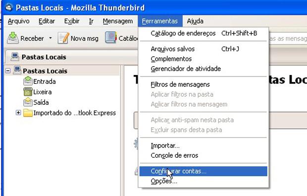 Primeiro passo na configuração do cliente cliente de e-mail da Mozilla (Foto: Reprodução)