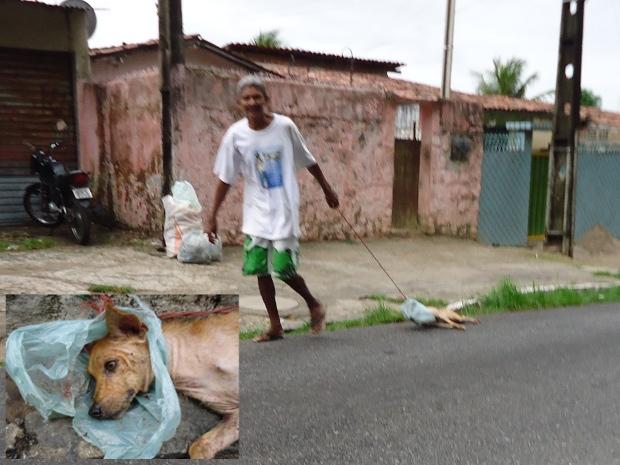 Um cinegrafista amador flagrou um homem arrastando um cachorro pelo asfalto no bairro de Jaguaribe, na capital. O animal que foi arrastado por aproximadamente setecentos metros amarrado a uma corda e com a cabeça enrolada em um saco de plástico, estava machucado e sangrando. O agressor não foi identificado e disse ao cinegrafista que estava levando o cachorro para a carrocinha. (Foto: Divulgação/Arquivo Pessoal)