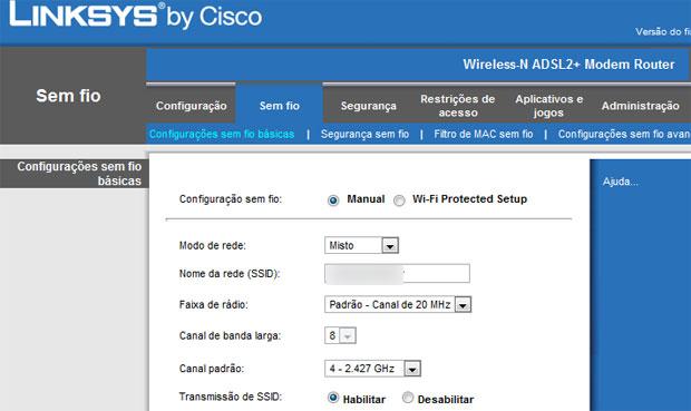 Configuração de rede em Wi-Fi Protected Setup ou Manual em um painel da fabricante Linksys, da Cisco. É preciso desativar o WPS para se proteger da falha (Foto: Reprodução)