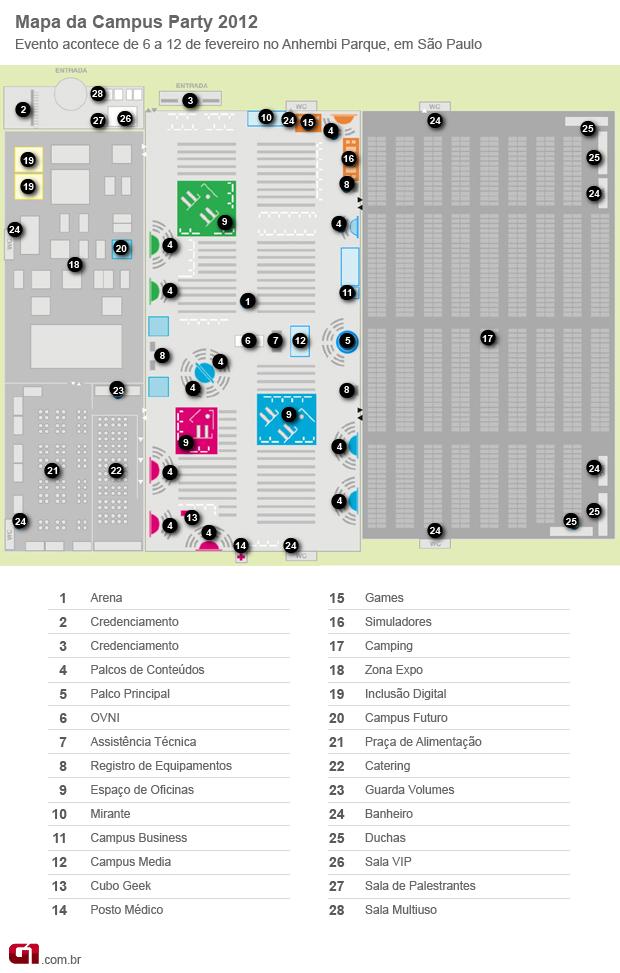 mapa campus party (Foto: Arte G1)