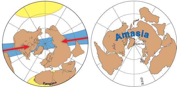 Ilustração mostra movimento dos continentes atuais para formar Amásia. À esquerda, o deslocamento na direção do Polo Norte. Ao lado, o resultado final do encontro.