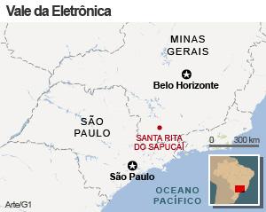 mapa santa rita do sapucai (Foto: Editoria de Arte/G1)