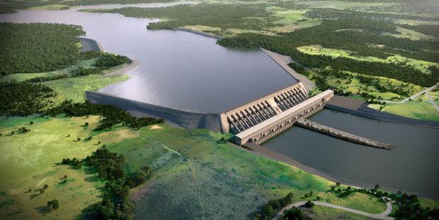 Perspectiva divulgada pela Norte Energia de como ficará a Casa de Força principal da usina de Belo Monte (Foto: Divulgação/Norte Energia)