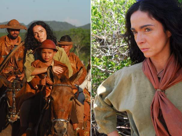 Cláudia Ohana posa como Benvinda em cena do bando de cangaceiros (Foto: TV Globo/Zé Paulo Cardeal)