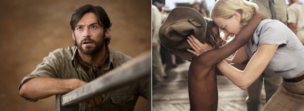 Drover (Hugh Jackman) e Sarah (Nicole Kidman) tentam proteger dois mil cabeças de gado em jornada de quilômetros (Foto: Divulgação)