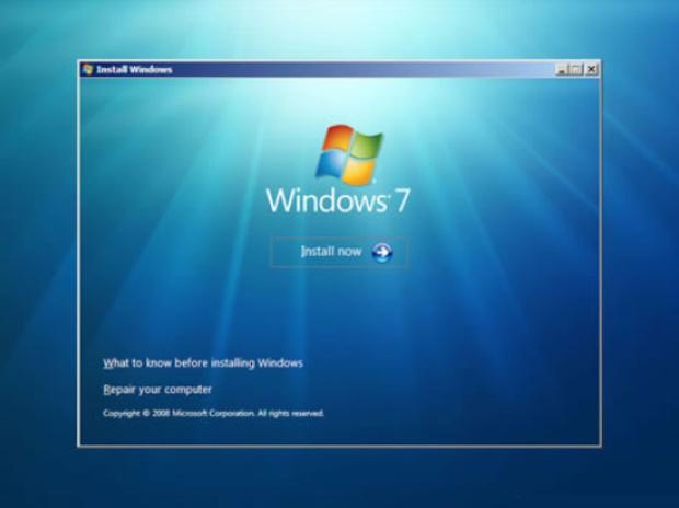 Tela inicial da instalação do Windows 7