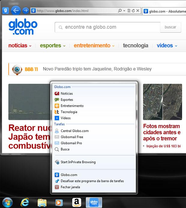 Globo.com já adotou os novos recursos do novo IE9 (Foto: Reprodução)
