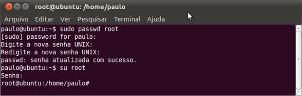 Como ativar o login pelo usuário root no Ubuntu (Foto: Reprodução/Paulo Higa)