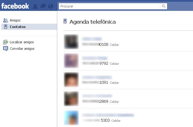 Agenda telefônica do Facebook (Foto: Reprodução/TechTudo)