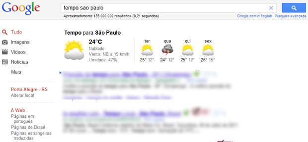 Google Previsão do Tempo (Foto: Reprodução/Teresa Furtado)