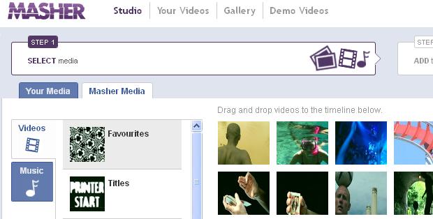 Masher Media: vídeos e músicas disponibilizadas pelo aplicativo (Foto: Reprodução/TechTudo)