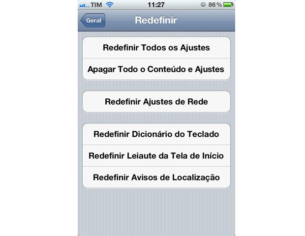 Redefinir Ajustes de Rede no iPhone (Foto: Reprodução)