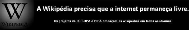 Banner da Wikipedia contra o SOPA (Foto: Reprodução)
