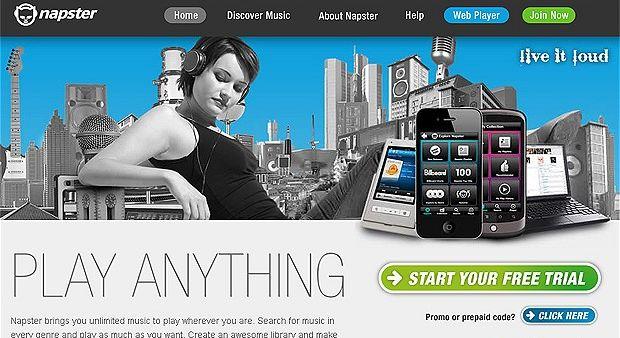 Página do Napster no Reino Unido (Foto: Reprodução)