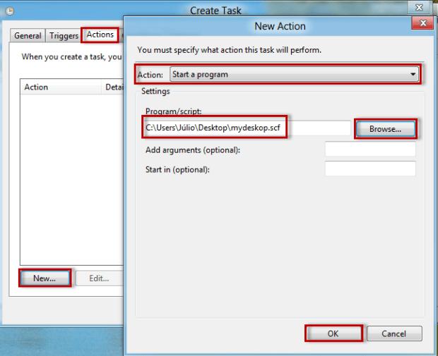 """Agora, em """"Actions"""", selecione """"New"""" de novo, na tela que se abrirá marque """"Start a program"""", depois procure em """"Browse"""" pelo arquivo salvo no Notepad (Foto: Reprodução/Júlio Monteiro)"""
