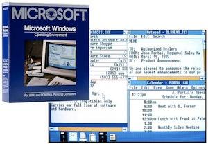Imagem do Windows 1.0 ao fundo com caixa para comercialização na frente (Foto: Reprodução / Blogoscoped.com) (Foto: Imagem do Windows 1.0 ao fundo com caixa para comercialização na frente (Foto: Reprodução / Blogoscoped.com))