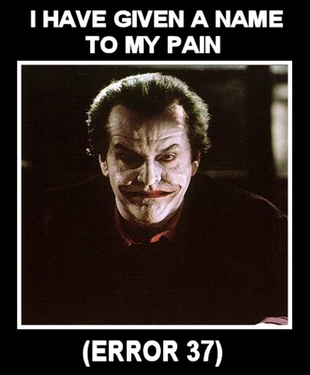 """Por que tão sério, Coringa? """"Eu dei um nome para a minha dor. Error 37"""" (Foto: VentureBeat)"""
