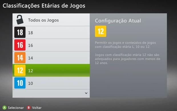 No Filtro Família é possível configurar a classificação etária mínima para os jogos, vídeos e outros conteúdos (Foto: Reprodução)