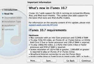 iTunes 10.7 é necessário para instalar o novo iOS (Foto: Reprodução)
