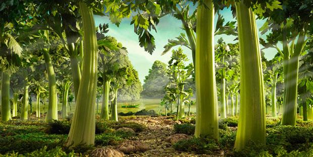 As árvores foram feitas com brócolis (Foto: Reprodução/ Carl Warner)