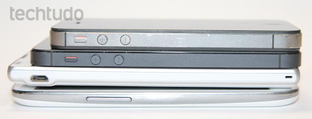 Na ordem: iPhone 4S, iPhone 5, Xperia ZQ e Galaxy S3 (Foto: Allan Melo / TechTudo)