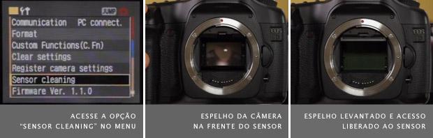 Menu de uma câmera DSLR, à esquerda, espelho da câmera na frente do sensor, no meio, e espelho levantado, à direita (Foto: Marlene Hielema)