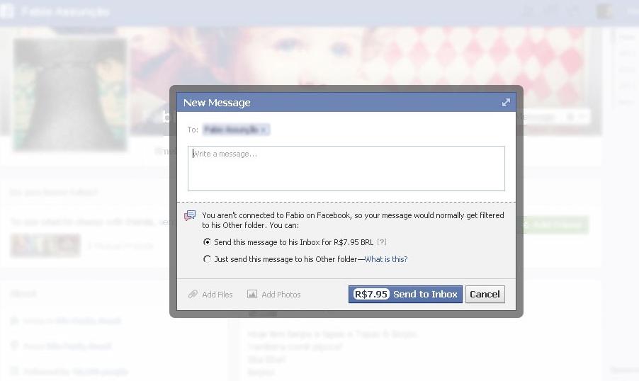 O envio de mensagens à desconhecidos no Facebook passou a ser pago no Brasil (Foto: Reprodução/TechTudo)