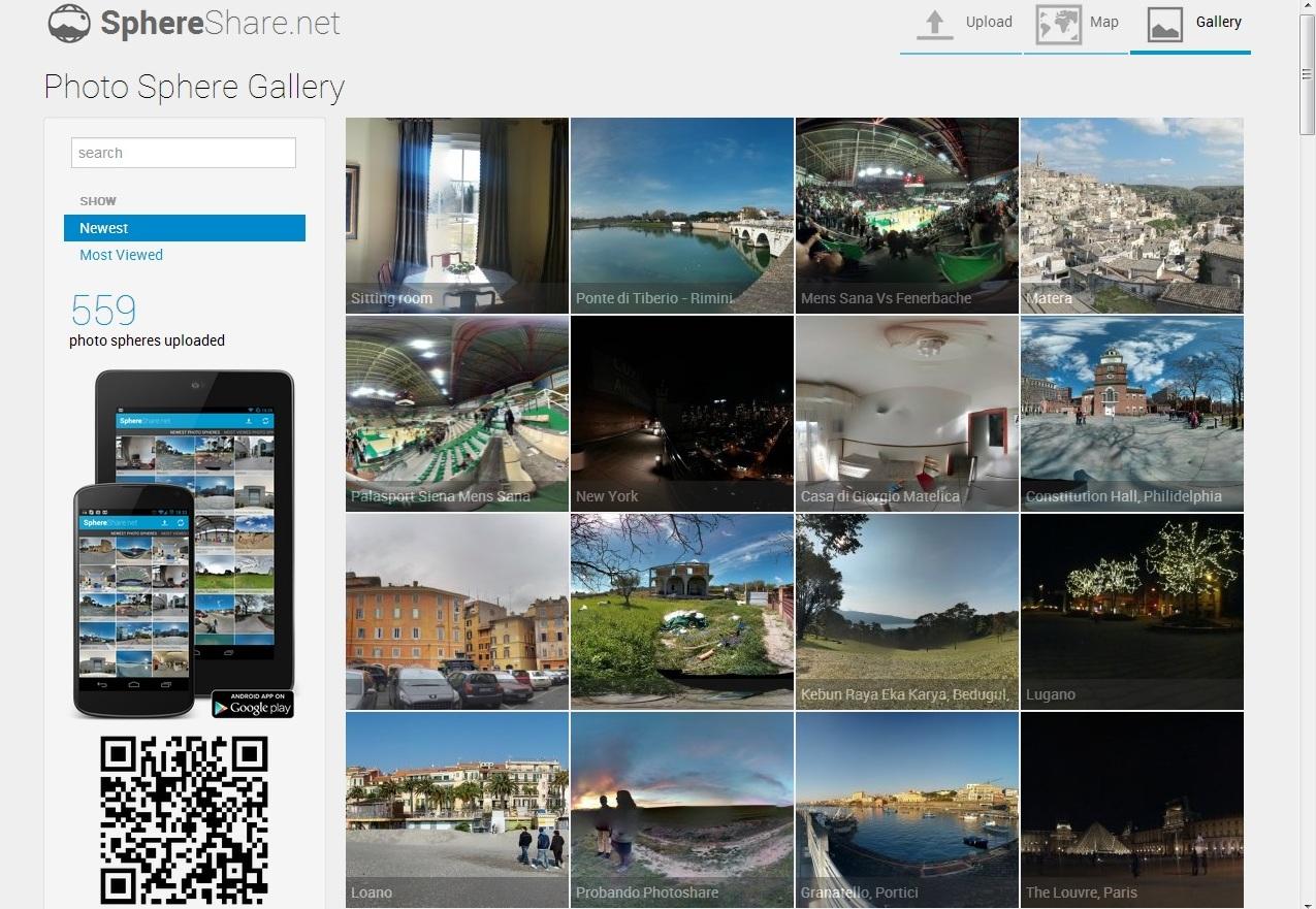 O SphereShare exibe uma crescente galeria de fotos panorâmicas tiradas com smartphones que tenham Android (Foto: Divulgação/ SphereShare )