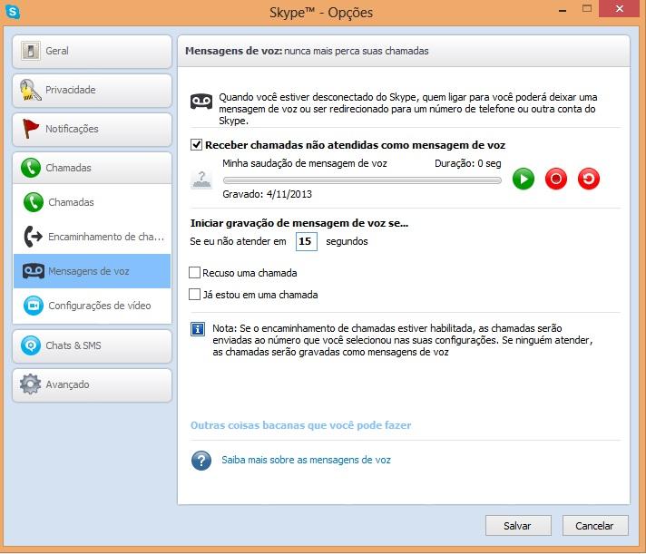 Alterando as configurações de mensagens de voz do Skype (Foto: Reprodução/Carolina Ribeiro)
