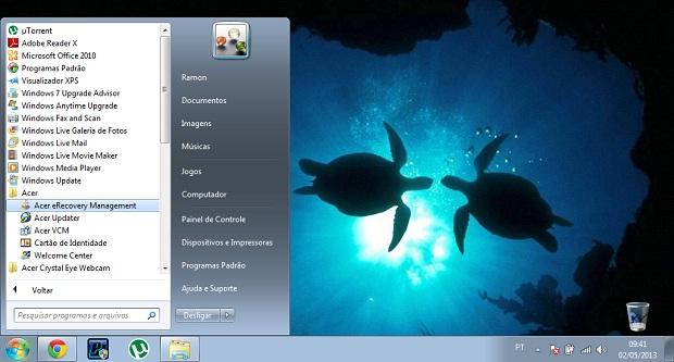 Localize e execute o utilitário de recuperação Acer no menu iniciar (Foto: Reprodução/ Ramon Cardoso)
