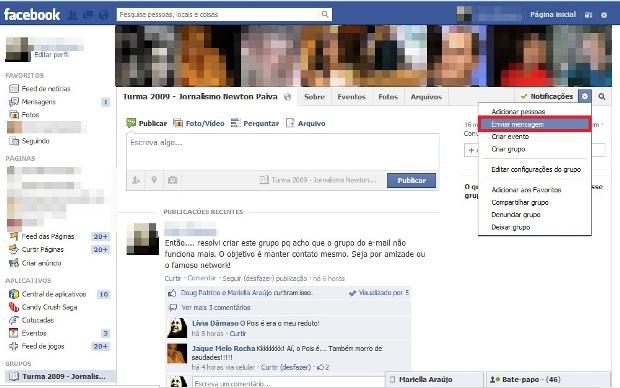 Enviar mensagem (Foto: Reprodução/Lívia Dâmaso)