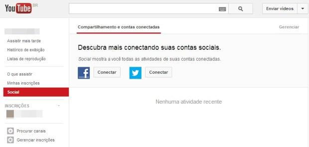 Opção de gerenciar as contas conectadas ao YouTube (Foto: Reprodução/Carolina Ribeiro)