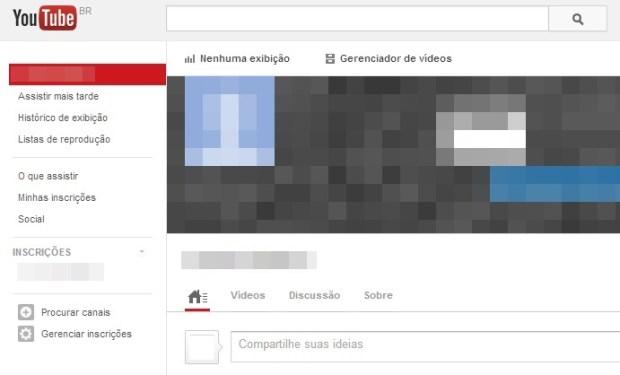 Tela inicial do seu canal do YouTube (Foto: Reprodução/Carolina Ribeiro)