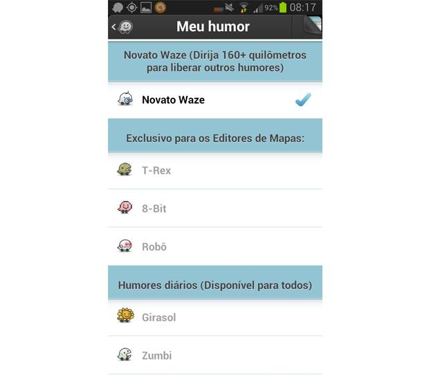 Usuário pode customizar seu avatar no Waze (Foto: Reprodução/Aline Jesus)