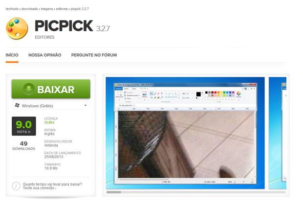 Faça o download do PicPick (Foto: Reprodução/TechTudo)