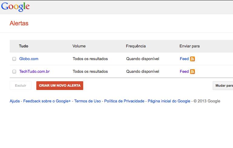 Alertas do Google volta a exibir feeds RSS após fim do Google Reader  (Foto: Reprodução)