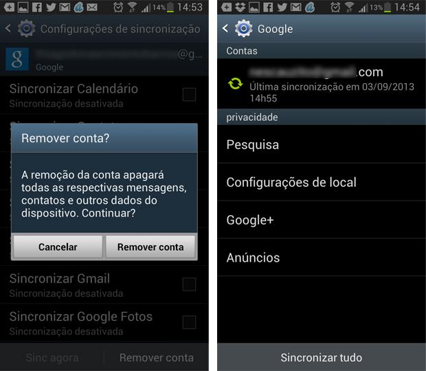 Confirmação de remoção da conta Google (Foto: Reprodução/Thiago Barros)