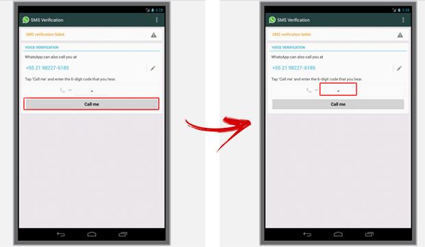 Fornecendo o código de acesso ao WhatsApp pelo Manymo (Foto: Reprodução/Marvin Costa)