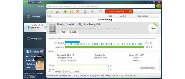 MediaGet é tem design agradável e foca a experiência do usuário na busca por torrents (Foto: Reprodução)