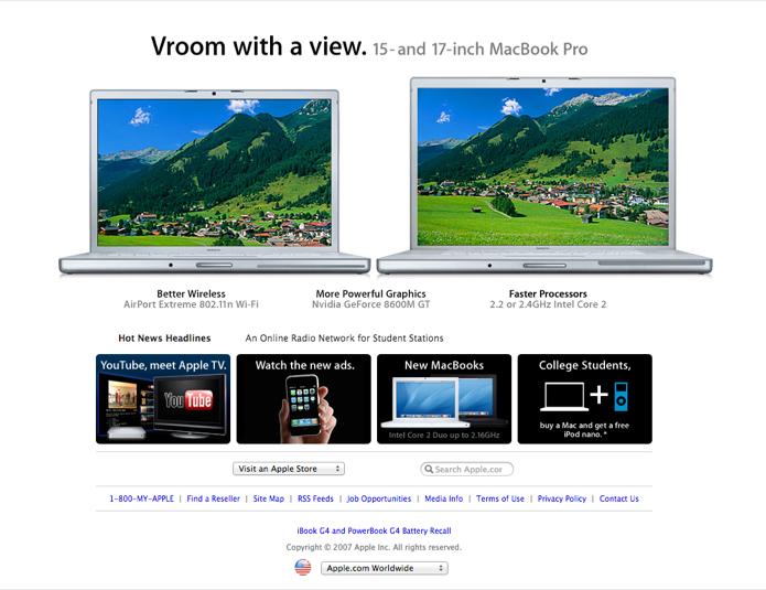 Apple.com em Junho de 2007 (Foto: Reprodução/Marvin Costa)