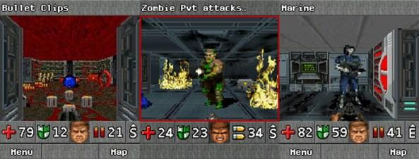 Doom RPG converteu a franquia para um gênero inusitado surpreendentemente bem (Foto: Reprodução/Java Games for Mobile, Bit-Tech e GameSpy)