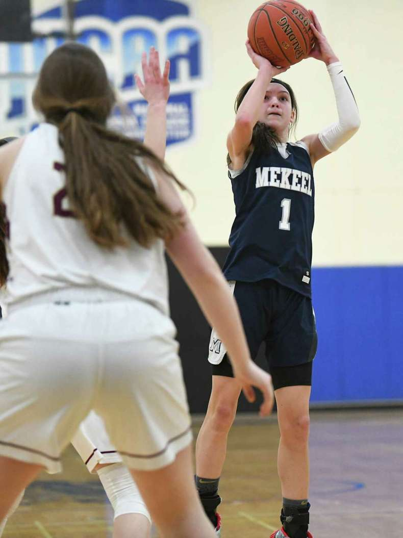 Mekeel Christian Academy's Avery Mills hits a jump shot in the WAC title game in 2020. Her coach at Winston-Salem Christian, Delaney Rudd, said she's not afraid to take the big shot at the end of a game. (Lori Van Buren/Times Union)